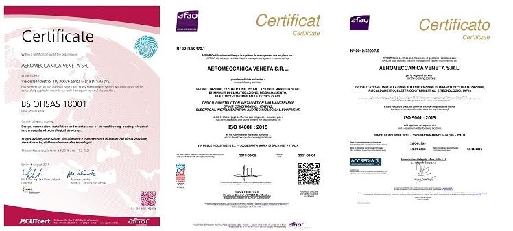 Certificazioni Aeromeccanica Veneta S.r.l.