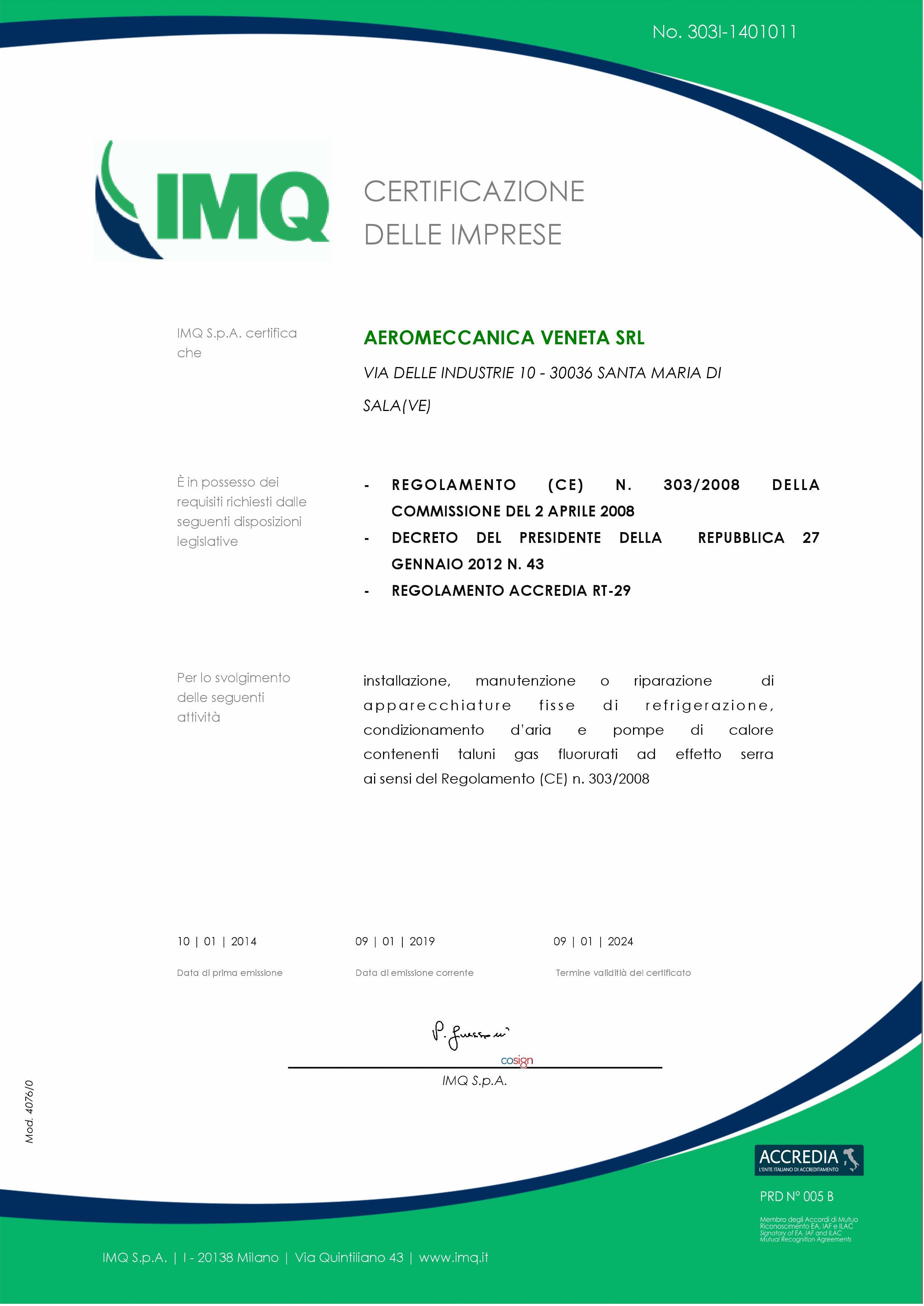 Nuovo certificato FGAS