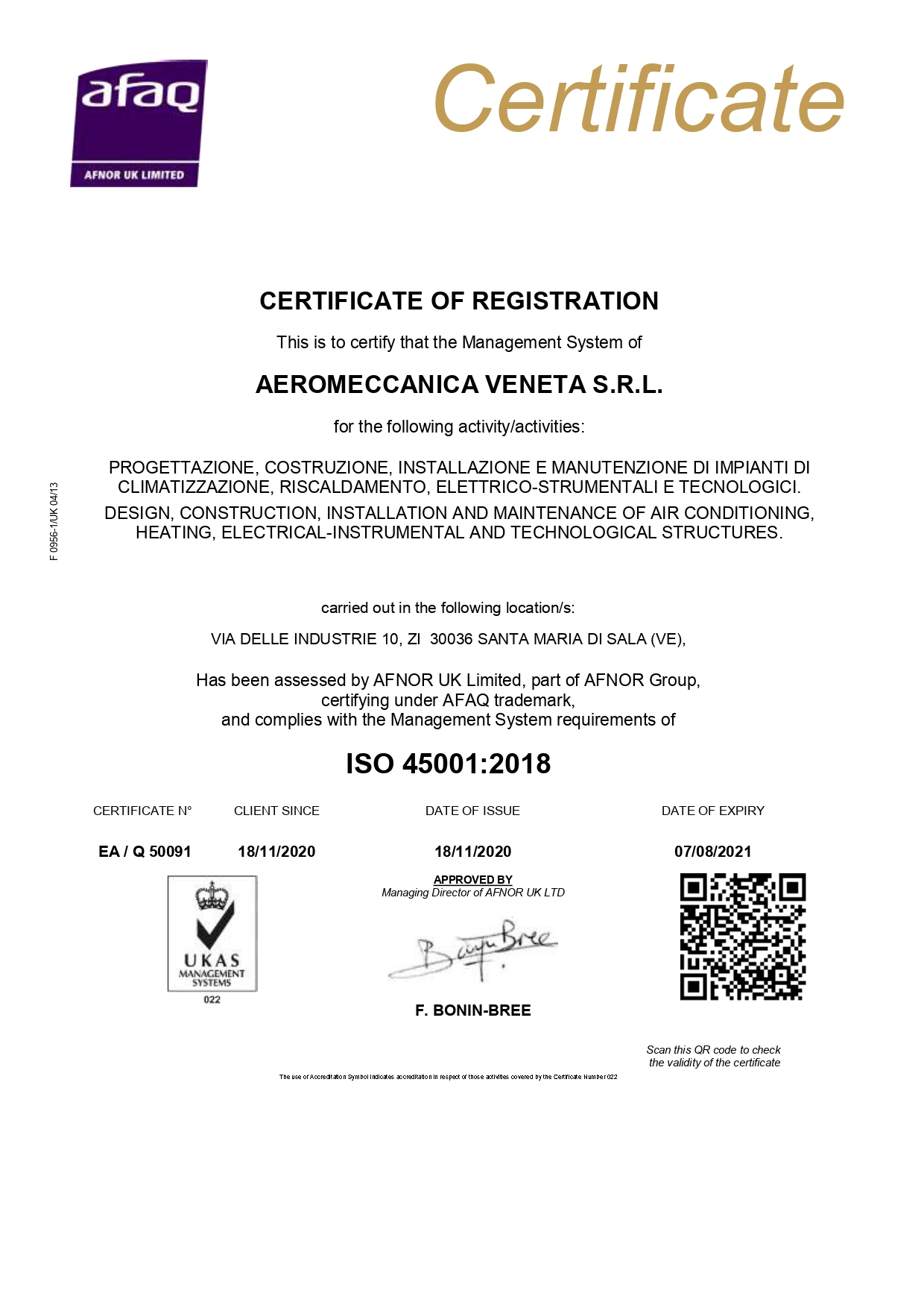 Nuova certificazione ISO 45001:2018